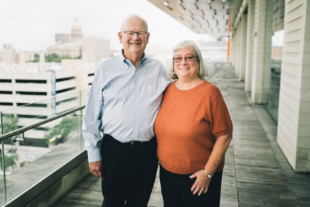 Sue Cox, M.D., and her husband Doug Morris at Dell Medical School