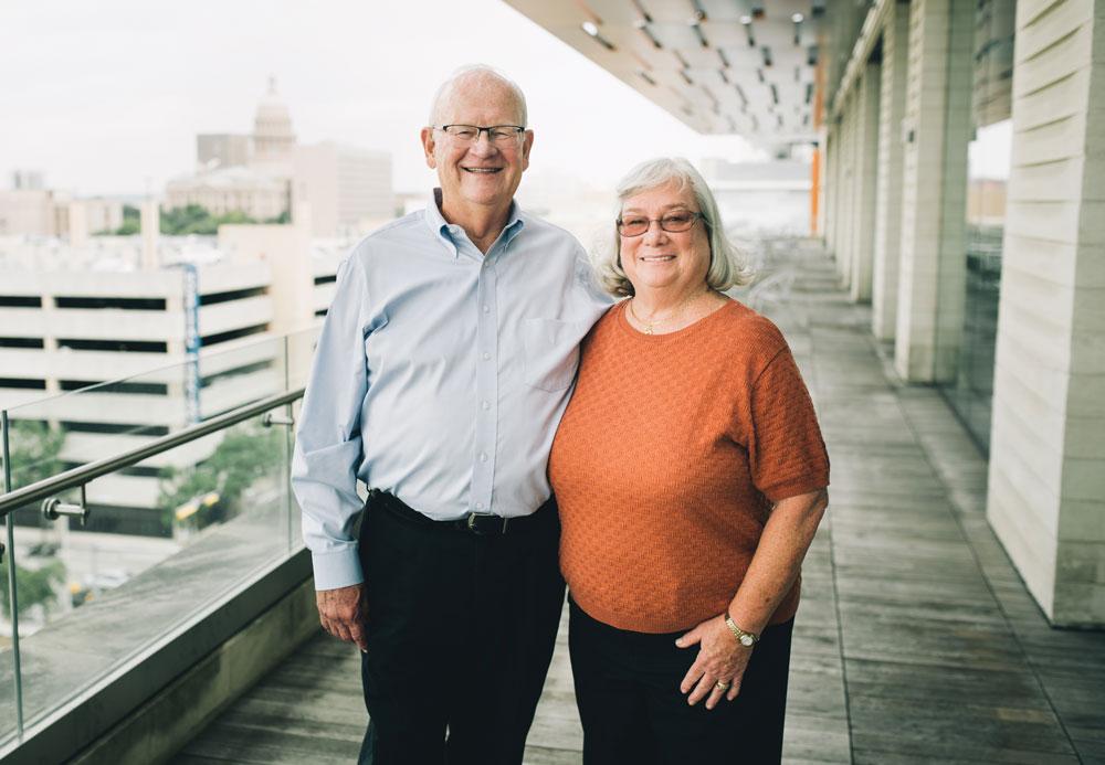 Sue Cox, M.D., and her husband Doug Morris at Dell Medical School
